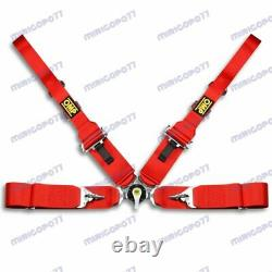 Red 4 Point Camlock Quick Release Car Seat Belt Harness For OMP Racing Universal