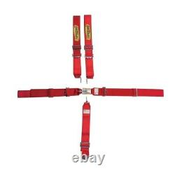 Red 5 Point Racing Harness Seat Belt Combo Latch & Link Pull Down SFI 16.1 certi