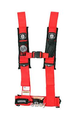 Red Pro Armor Seat Belt Harness 4 Point 3 Padded Arctic Cat Prowler Wildcat