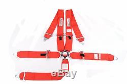 Red Safety Harness 5 Point Racing Seat Belt 3 Sfi 16.1 Cam Lock Roll Bar Mount