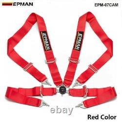 Red Universal 4-Point 3 Nylon Strap Harness Safety Camlock Racing Seat Belt