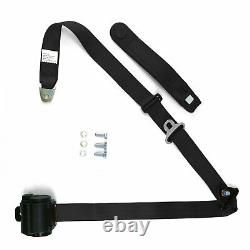 Retro Seat Belt Harness 3-Point RETRACTABLE Toyota Jeep VW Ford BMW EURO Black
