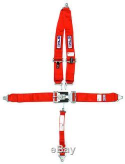 Rjs Racing Seat Belt Harness Red V-type Sfi 16.1 Rated 5-pt Shoulder Mount Imca