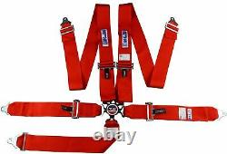 Rjs Racing Sfi 16.1 Cam Lock 5 Point Seat Belt Harness Floor Mount Red 1034904