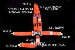 Rjs Racing Sfi 16.1 Latch & Link 5 Point Seat Belt V Harness Bolt Orange 1126205