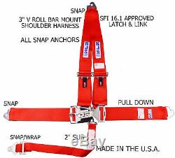 Rjs Racing Sfi 16.1 Latch & Link Snap 5 Point Seat Belt V Harness Red 1125504