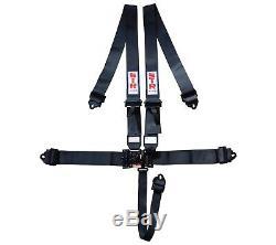 STR 5-Point SFI Harness Nascar Latch Seat Belt F1 F2, Aluminium Adjuster Black