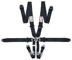 STR 6-Point Race Harness FIA 8853-2016 (2025) Safety Seat Belt Pull Down BLACK