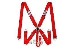 STR SFI 5-Point Racing Safety Harness Seat Belt Aircraft Camlock F1 F2 Red