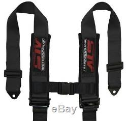 STV Motorsports Racing Black 4-Point 3 Inch Straps Universal Seat Belt Harness