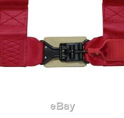 STV Motorsports Racing Red 4-Point 3 Inch Straps Universal Seat Belt Harness