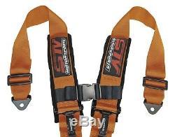 STV Motorsports Racing Seat Belt Harness Orange 4-Point 2Inch Polaris RZR XP1000