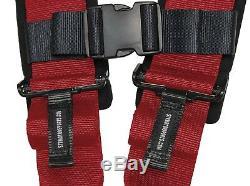 STV Motorsports Safety Seat Belt Harness Red 4 Point 3 Polaris RZR Ranger Rhino