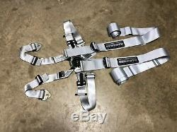 Schroth Hybrid II 2 Silver 6 Point Racing Seat Harness Belt, Expired