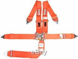 Sfi 16.1 Racing Harness 5 Point Latch & Link 3 Seat Belt Orangemade In The USA