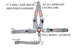Silver Gray Racing Harness Seat Belt 5 Point Sfi 16.1 Cam Lock Bolt In Scca