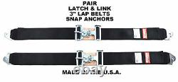 Snap In / Clip In 3 Seat Belts Latch & Link Racing Harness Black