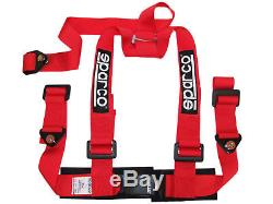 Sparco 04608BVRS 2 3 Point 3pt Bolt-In Street Harness Seat Safety Belt RED