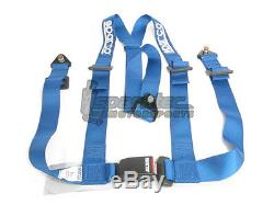 Sparco Racing Seat Belt Safety Harness Street Tuner Blue 2-Inch 3-Point Bolt-In