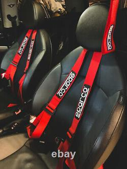 Sparco Racing Street 3 Point Bolt-In 2 Seat Belt Harness (Red)