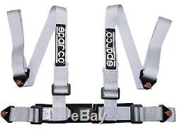 Sparco Racing Street 4 Point Bolt-In 2 Seat Belt Harness (Silver)