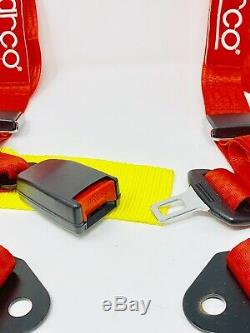 Sparco Racing Style 4 Point Bolt-In 2 Safety Seat Belt Harness Universal (Red)