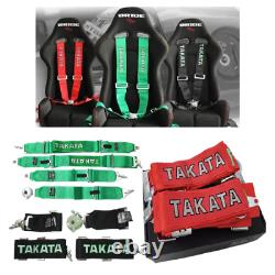 TAKATA Racing Seat Belt Harness 4 Point 3 Snap On Camlock Universal Red
