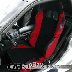 T-R Black Red Cloth PVC Reclinable Racing Bucket Seats Pair withBlack Belt Harness