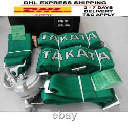 Takata 4 Point Snap-On 3 With Camlock Racing Seat Belt Harness Green Universal