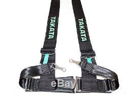 Takata DRIFT III 4 Point Bolt-On 3 Racing Seat Belt Harness (Black)