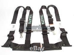 Takata Drift II Bolt-On Seat Belt Safety Harness Black 2 Shoulder/Lap 4-Point