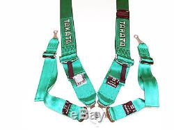Takata RACE 4 Point Bolt-On 3 Racing Seat Belt Harness with Camlock (Green)