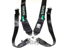 Takata RACE 4 Point Snap-On 3 Racing Seat Belt Harness with Camlock (Black)