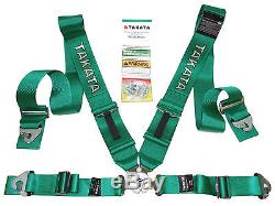 Takata RACE 4 Point Snap-On 3 Racing Seat Belt Harness with Camlock (Green)