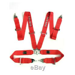 Takata Race Seat Belt 4 Point FIA Approved Drift 3 ASM Snap On Harness Red