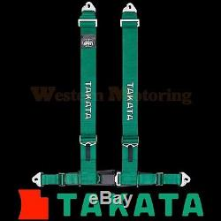 Takata Seat Belt Harness Drift III 4-Point ASM Green (Snap-On) 70002US-H2