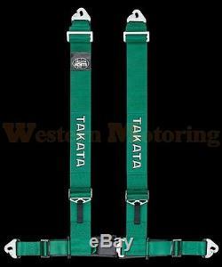 Takata Seat Belt Harness Drift III 4-Point ASM Green (Snap-On) 70002US-H2