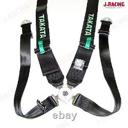 Takata Style Race Seat Belt 4 Point Drift 3 ASM Snap On Harness Green or Black