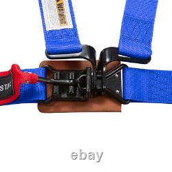 Universal 2'' 4-Point Racing Latch and Link Nylon Safety Harness Seat Belt Blue