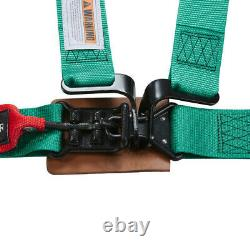 Universal 4-Point 2'' Racing Latch & Link Safety Harness Nylon Seat Belt Green