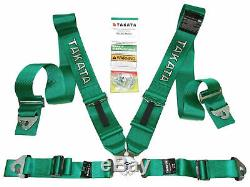 Universal 4 Point Camlock Quick Release Racing Car Seat Belt Harness Green