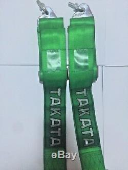 Universal Green 4 Point Camlock Quick Release Racing Car Seat Belt Harness 2.7W