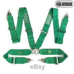 Universal Green 4 Point Camlock Quick Release Racing Seat Belt Harness 3W Takat