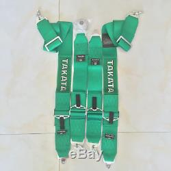Universal New Green 4 Point Camlock Quick Release Racing Seat Belt Harness FIA3