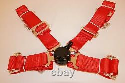 Universal Red Racing Seat Belt Safety Harness 4 Point 2 Wide