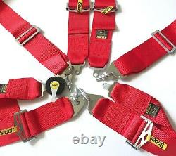 Universal Red Sabelt 4 Point Camlock Quick Release Racing Seat Belt Harness