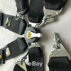 Universal Sabelt Black 4 Point Camlock Quick Release Seat Belt Harness Racin