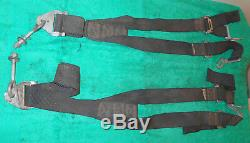 Vintage American Safety BLACK AIRCRAFT Or RACING HARNESS SEAT BELT Y-BELTS