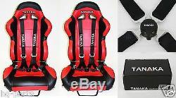 X2 Tanaka Universal Black 4 Point Camlock Quick Release Racing Seat Belt Harness