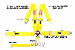 Yellow 3 Racing Harness Sfi 16.1 Pull Up Lap Belts 5 Point Cam Lock Racerdirect